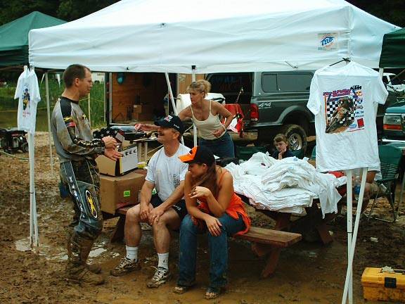 guys sitting around tent